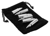 Bullet Shaped Whiskey Stones - Stainless Steel - Chills Drinks - Set of 6 - Vodka, Whiskey, Scotch - Tongs & Storage Bag.