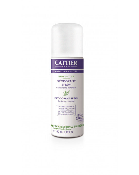 CATTIER BIO Brume Active déodorant - Cardamome - Patchouli - 100 ml