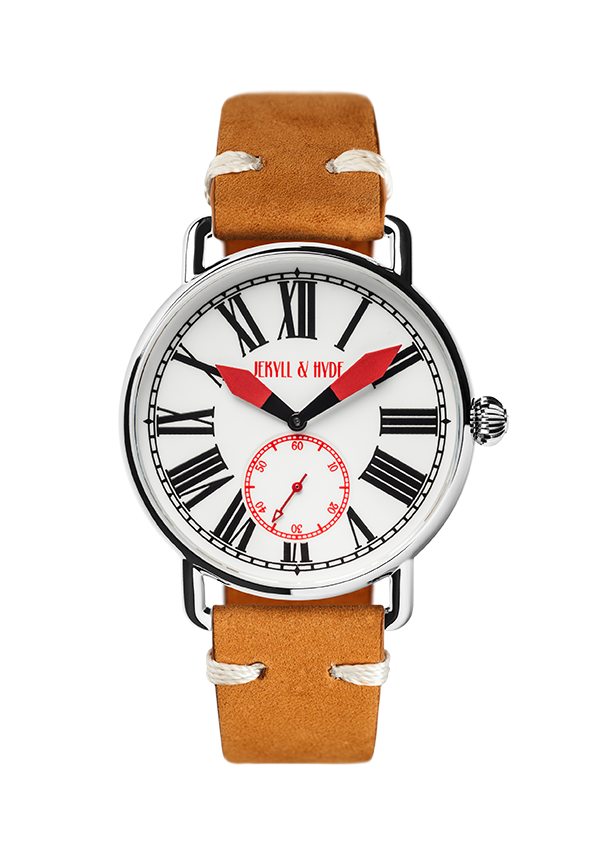 """Unleashed"" white & red Roman 42 mm"