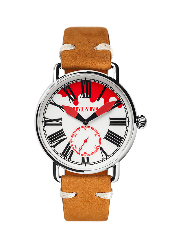 """Bloody"" white & red Roman 42 mm - Jekyll & Hyde Watches"