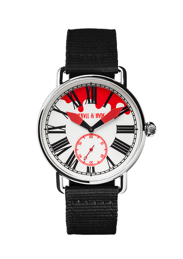 """Bloody"" white & red Roman 42 mm"