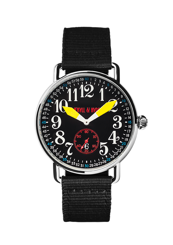 """Unleashed"" black & yellow Arabic 42 mm - Jekyll & Hyde Watches"