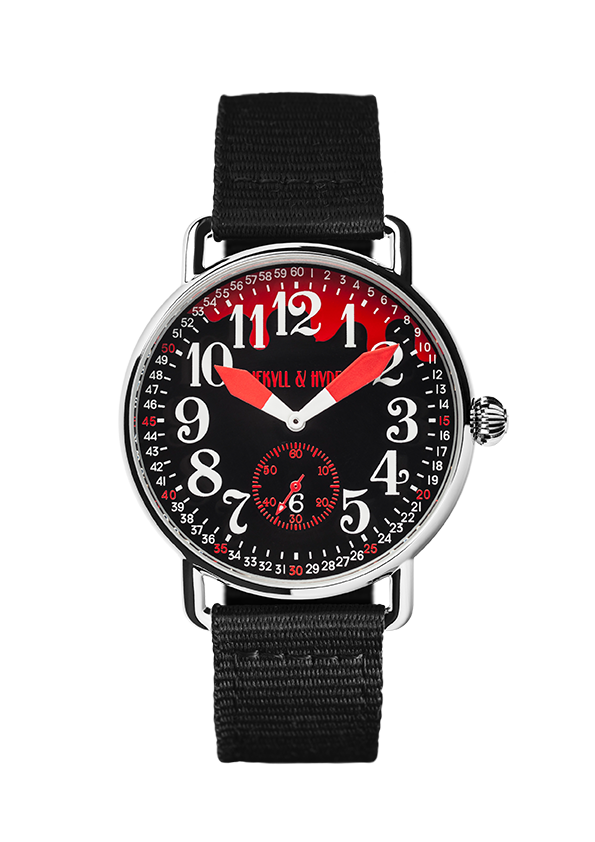 """Bloody"" black & red Arabic 42 mm - Jekyll & Hyde Watches"