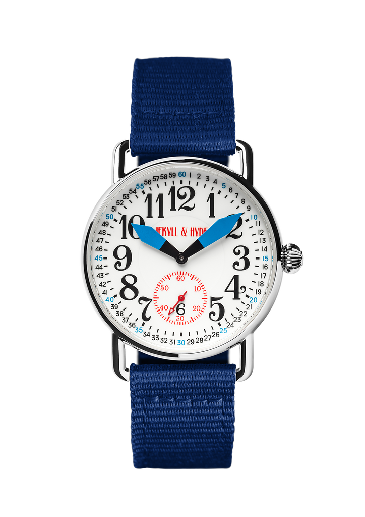 """Unleashed"" white & blue Arabic 39 mm"