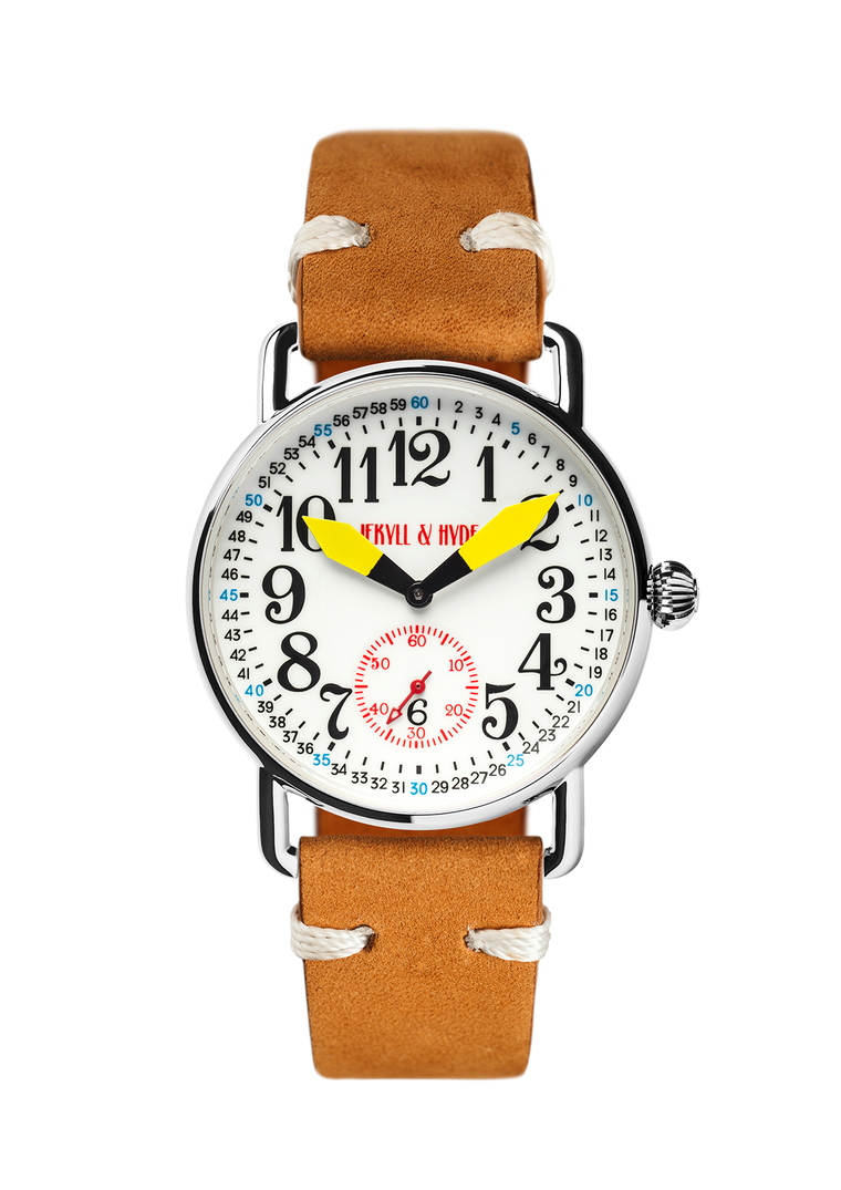 """Unleashed"" white & yellow Arabic 39 mm"
