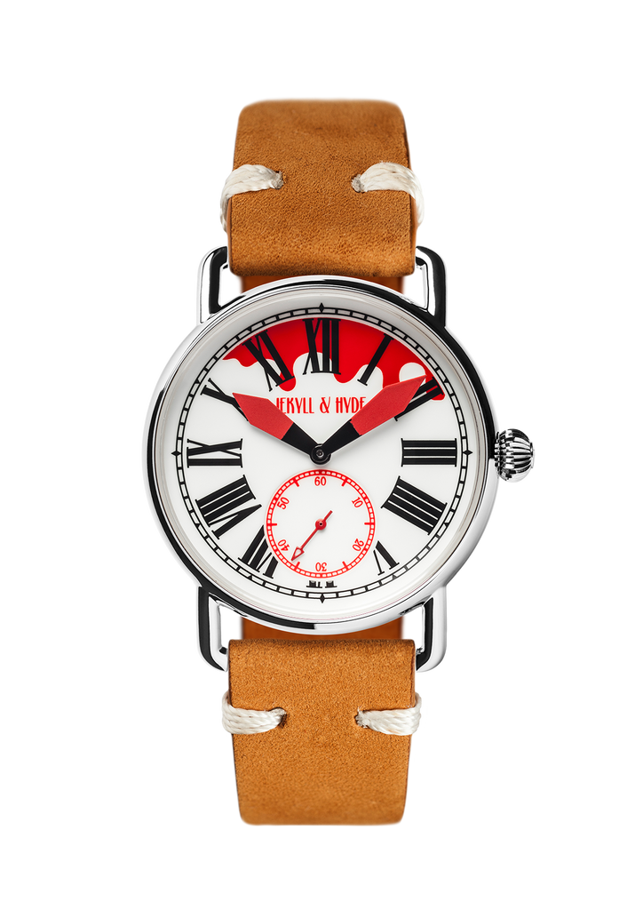"""Bloody"" white & red Roman 39 mm"