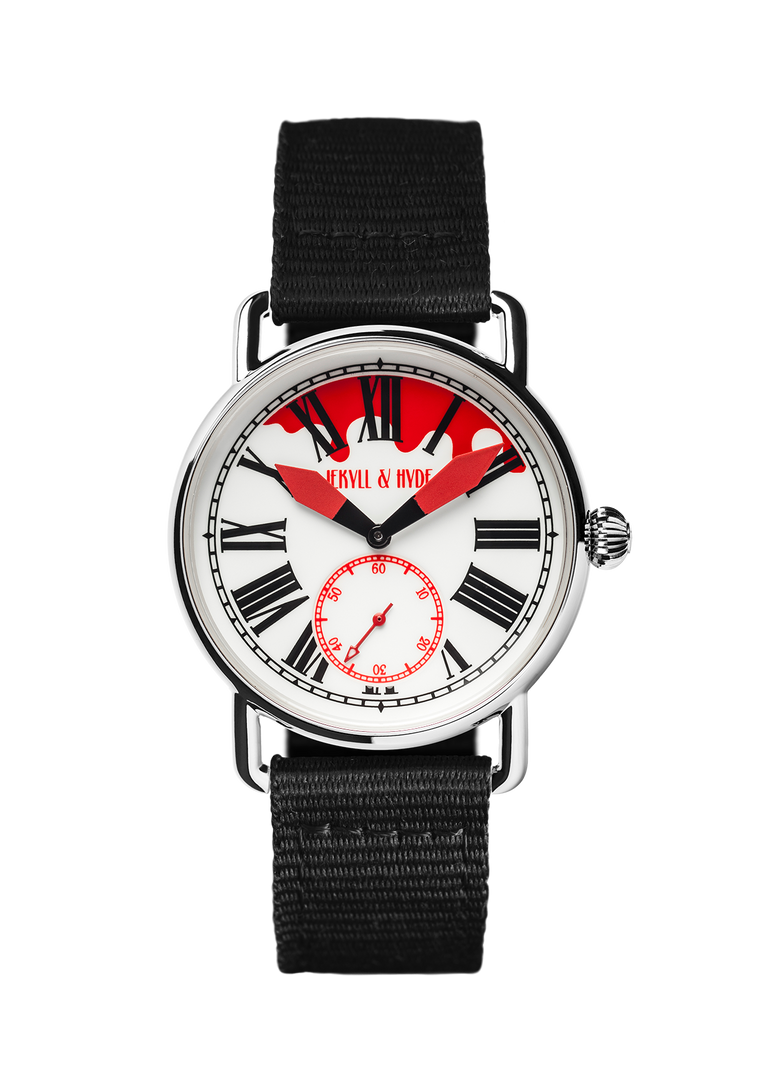 """Bloody"" white & red Roman 39 mm - Jekyll & Hyde Watches"