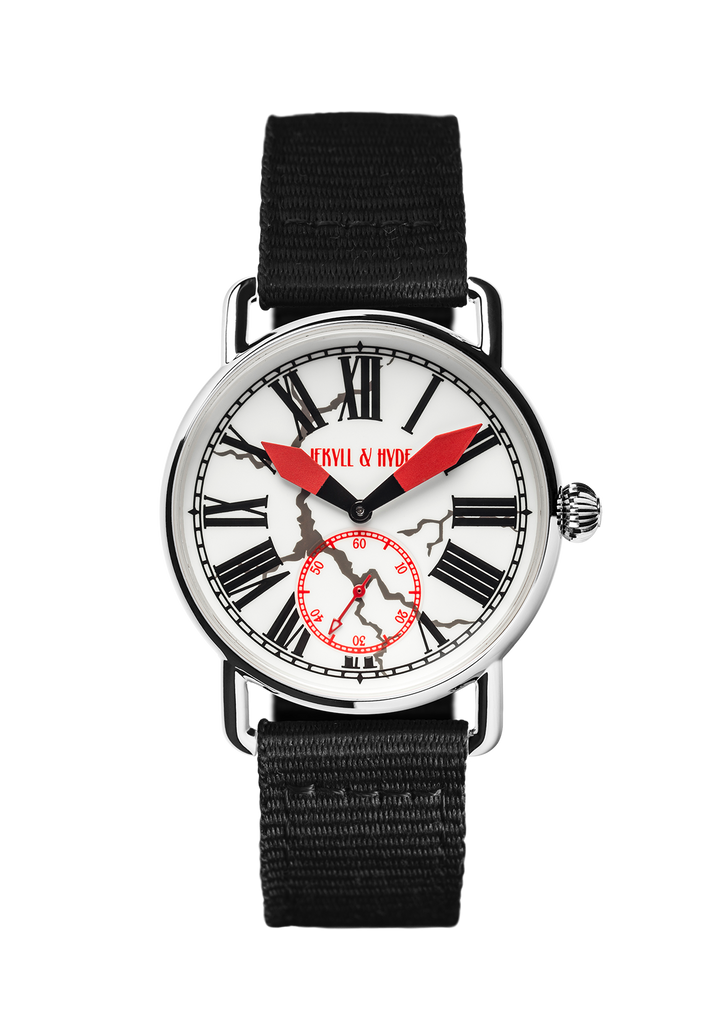 """Cracked"" white Roman 39 mm - Jekyll & Hyde Watches"