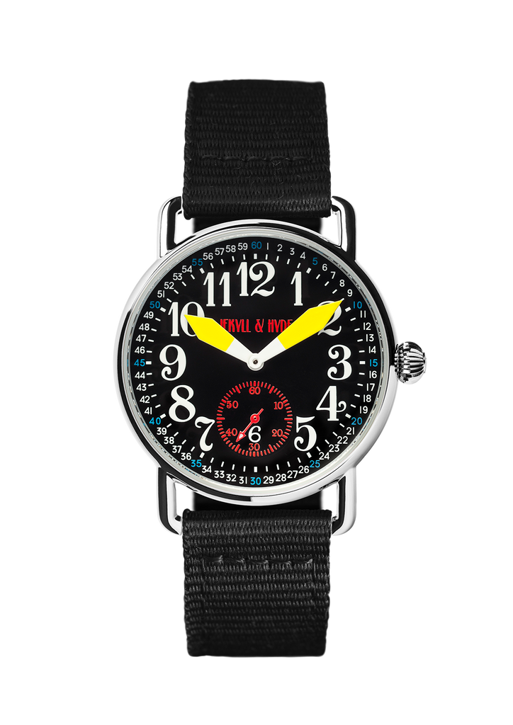 """Unleashed"" black & yellow Arabic 39 mm"