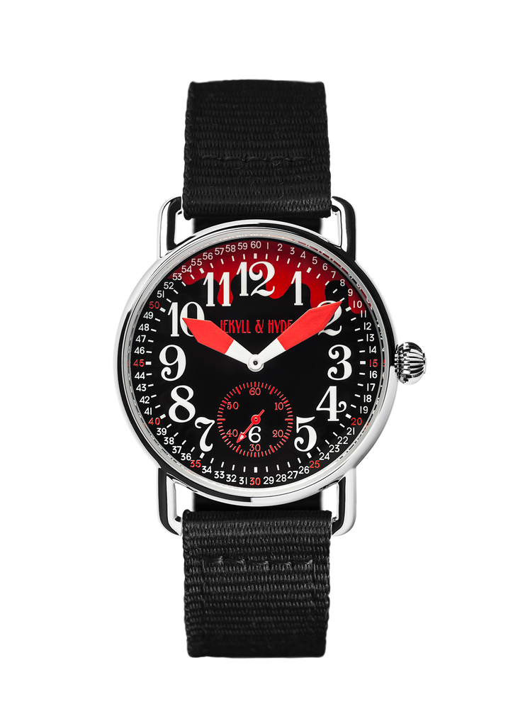 """Bloody"" black & red Arabic 39 mm - Jekyll & Hyde Watches"