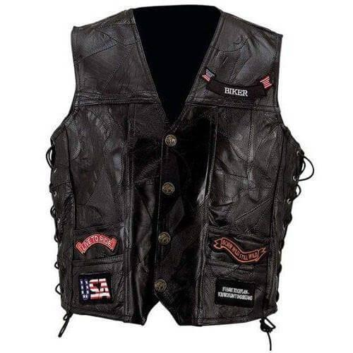 Genuine Leather Vest with 14 Patches