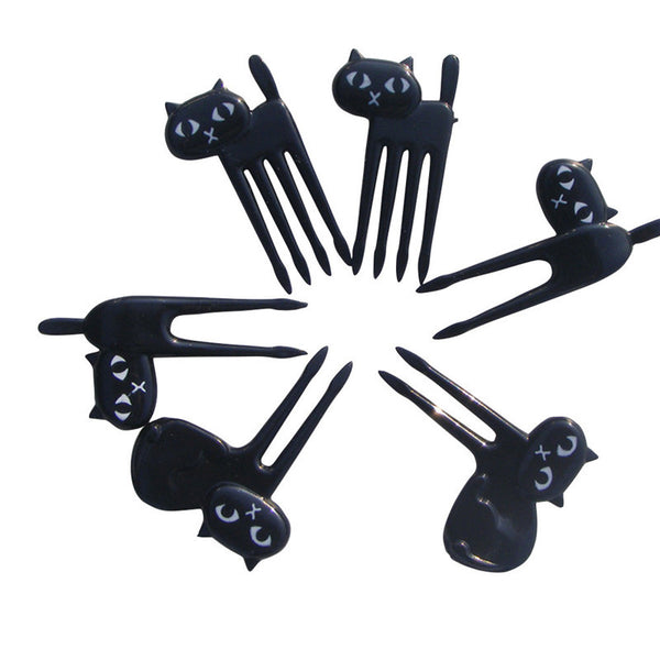 6pcs Japanesse Cat fruit Fork