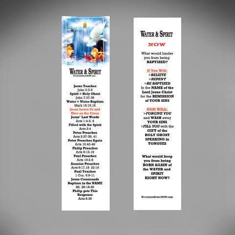 Water & Spirit Pack of 25 Bookmarks - Water and Spirit Born Again Bible Study -