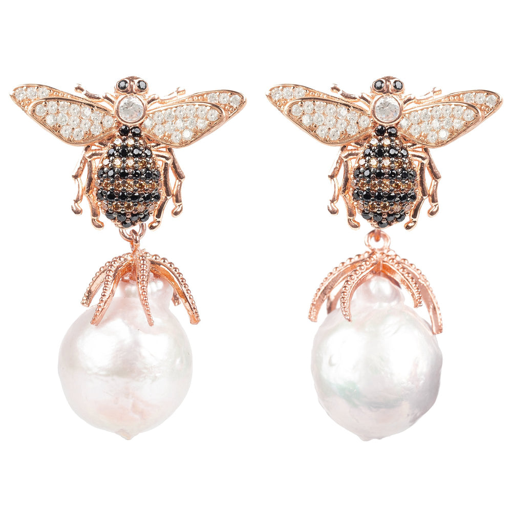 Latelita London Baroque Pearl Honey Bee Drop Earring Rosegold | Unbox Happiness