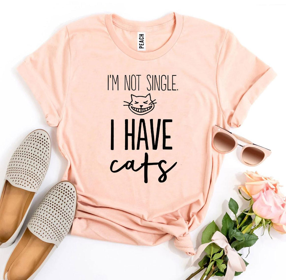 I'm Not Single I Have Cats T-shirt Peach | Unbox Happiness