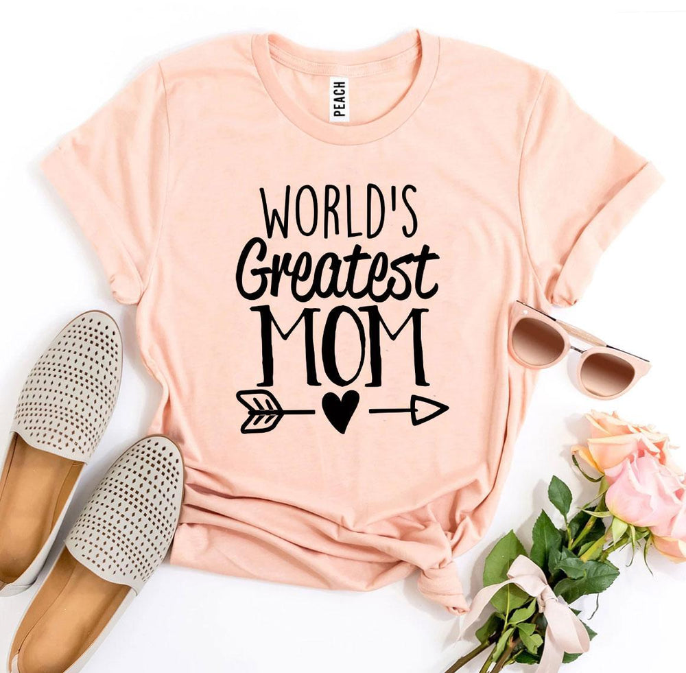 \World's Greatest Mom T-shirt Peach | Unbox Happiness