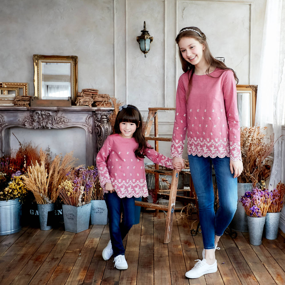 Mother Daughter Embroidered Scalloped Matching Top | Unbox Happiness
