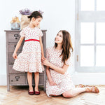 Mother Daughter Heart Shaped Polka Dot Matching Dress | Unbox Happiness