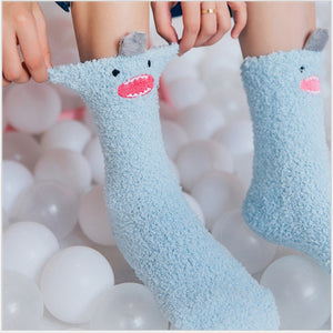 Load image into Gallery viewer, Shop Little Monster Coral Velvet Socks Online | Unbox Happiness