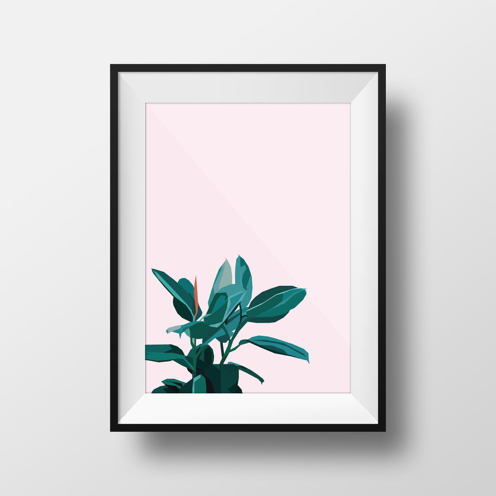 Plants on Pink Print - DG Designs