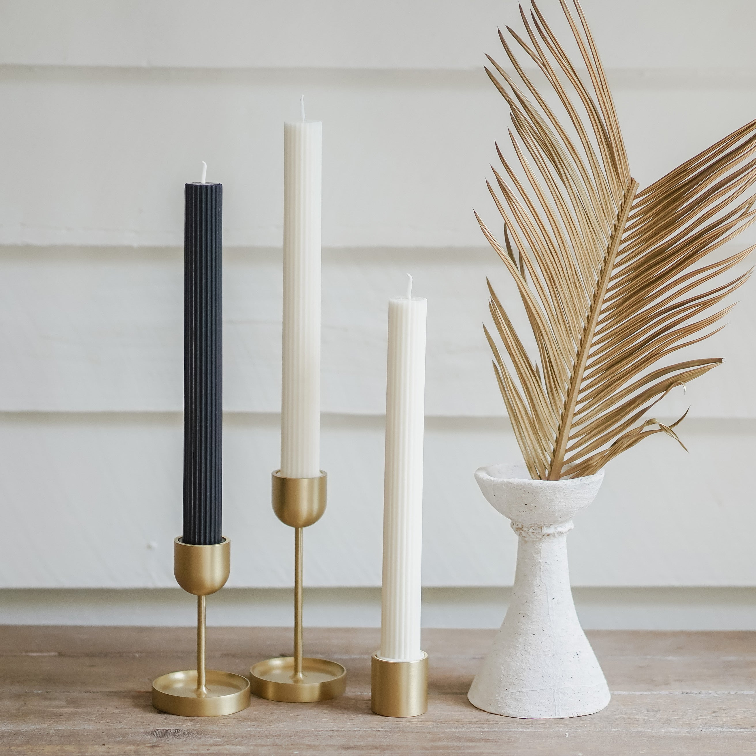 Column Pillar Candle Duo- Black