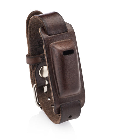 Leather Band for Use with Fitbit Flex Wristband with Watch Style Closure- Compatible as Fitbit Flex Replacement Band. (Dark Brown)