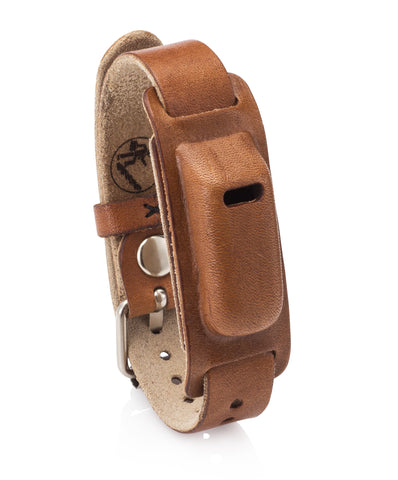 Leather Band for Use with Fitbit Flex Wristband with Watch Style Closure- Compatible as Fitbit Flex Replacement Band. (Light Brown)