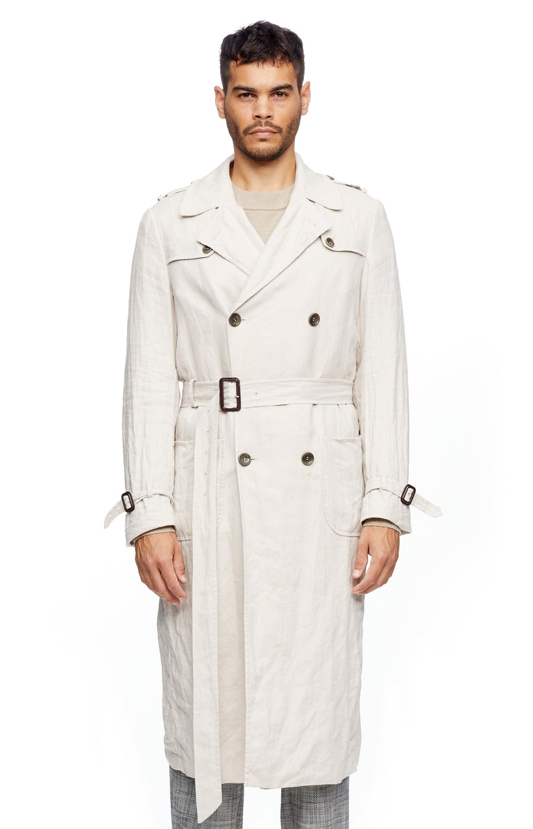 Ecru Linen Trench Coat