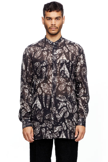 Black Leaf Mandarin Collar Shirt