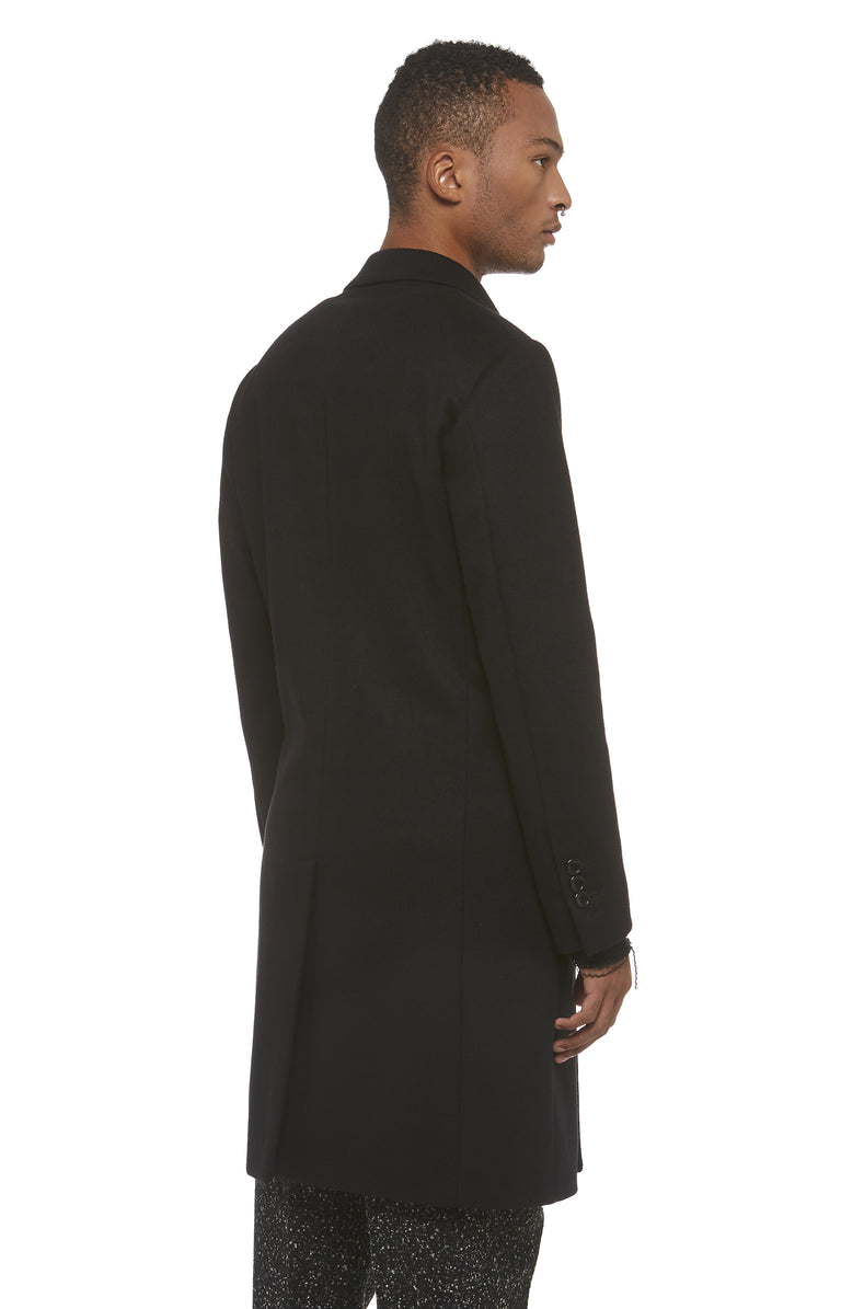 Black Wool DB Overcoat