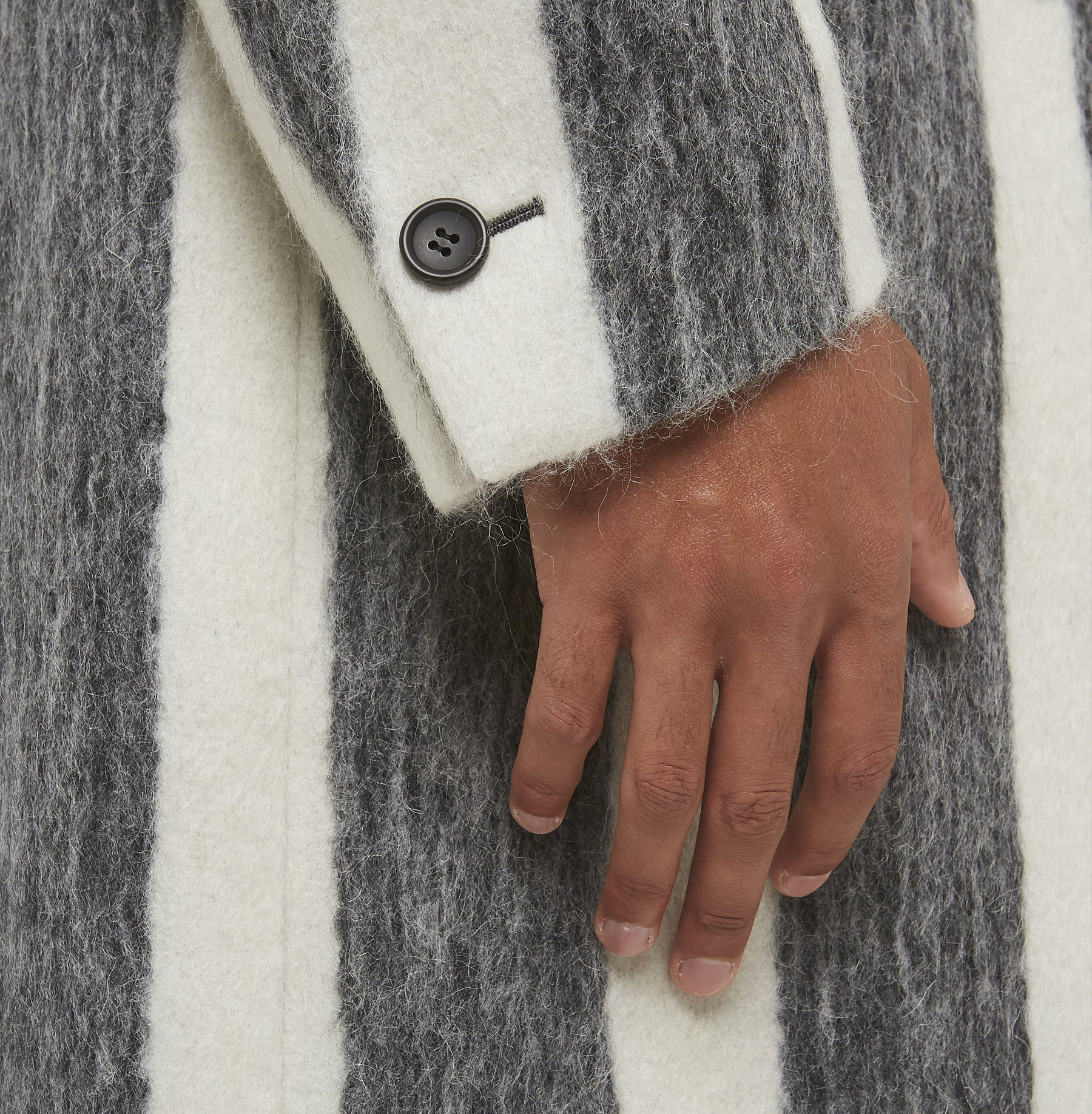 Black and White Mohair Overcoat