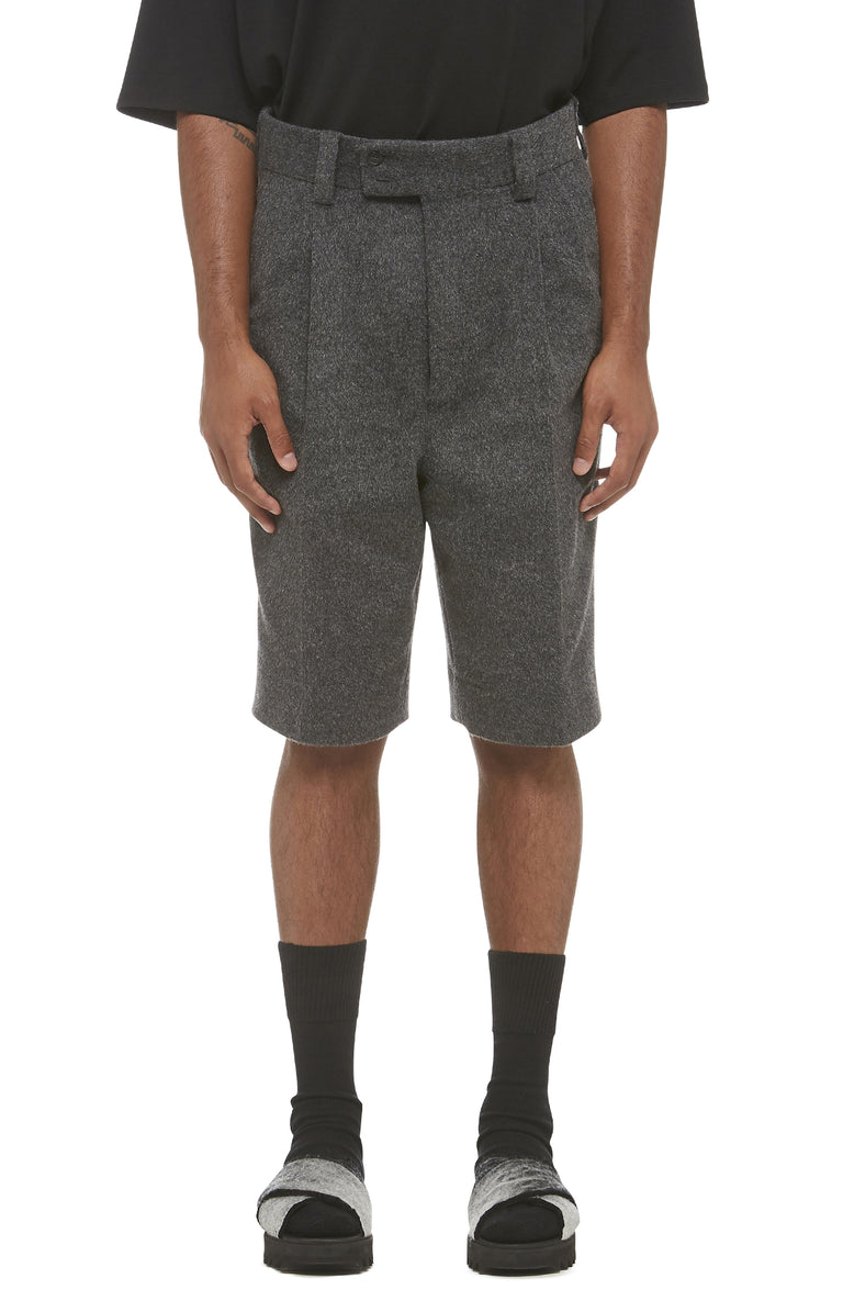 Grey Wool Drop Crotch Shorts