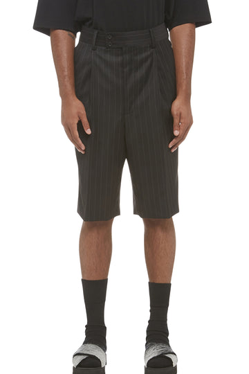 Black Pinstripe Drop Crotch Shorts