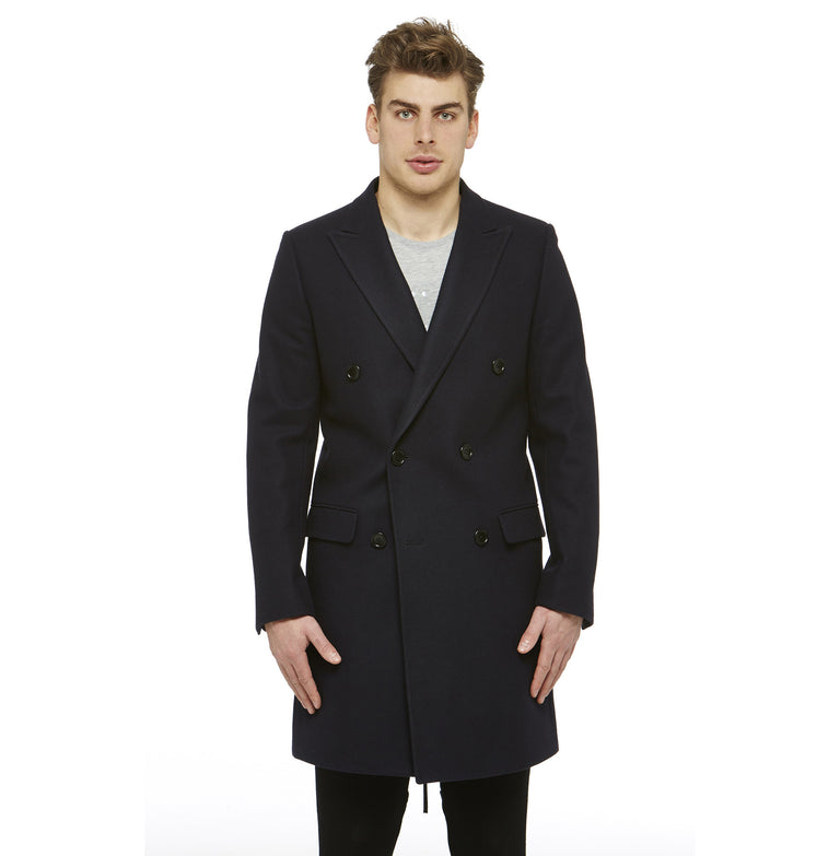 Navy Wool DB Overcoat