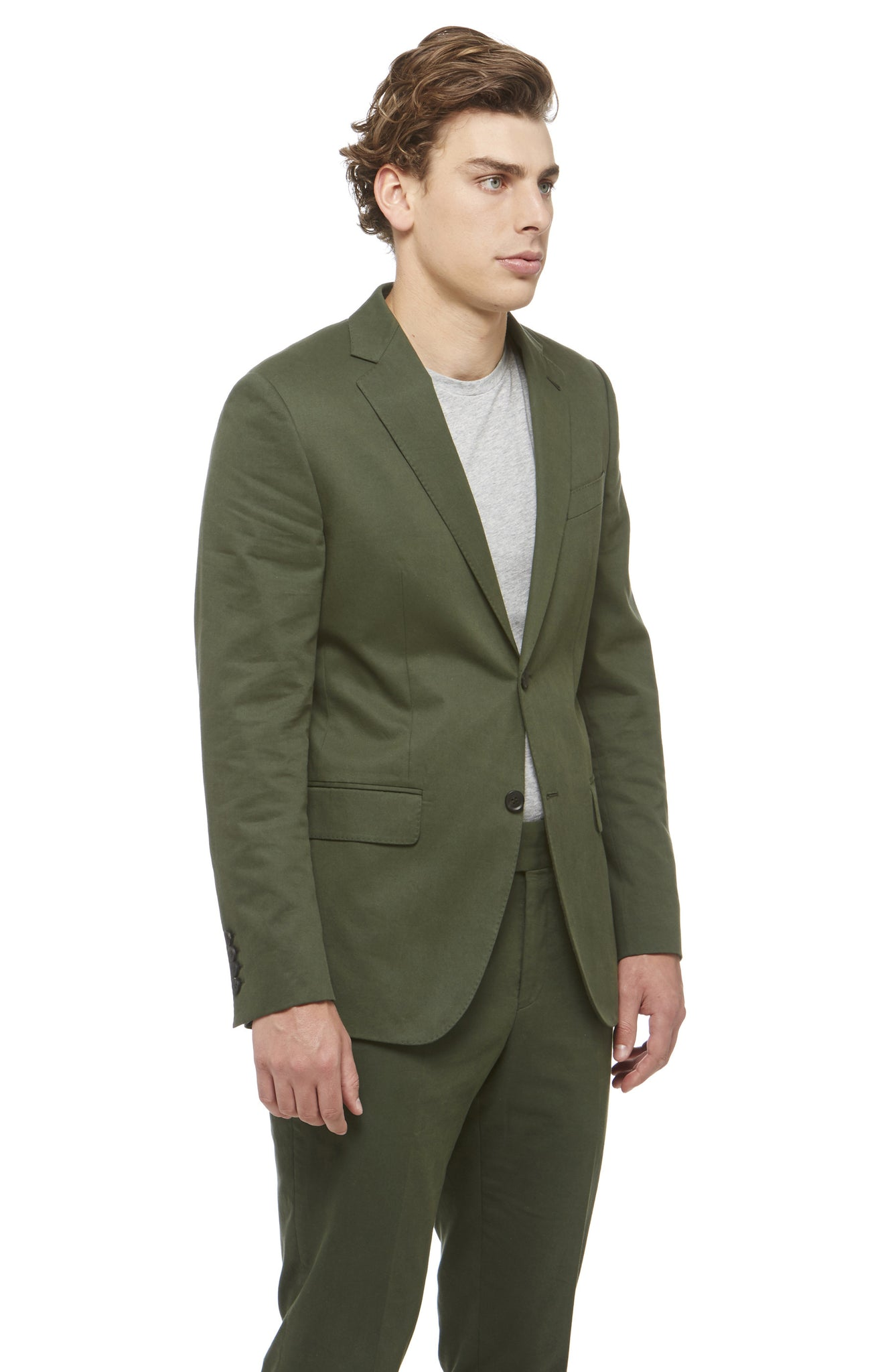 Green Cotton Notched Blazer