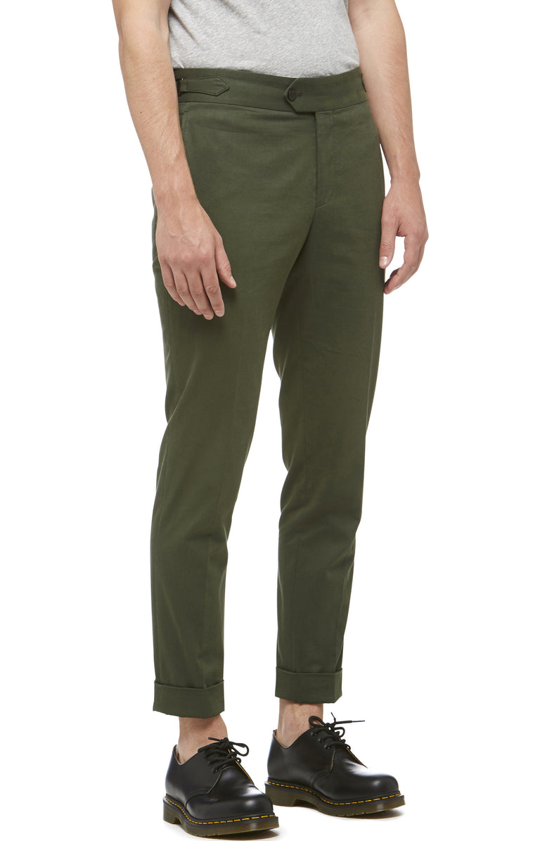 Green Cotton Cuffed Trouser