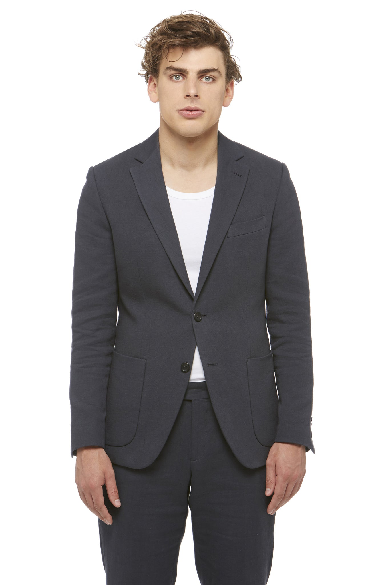 Black Cotton Grunge Blazer