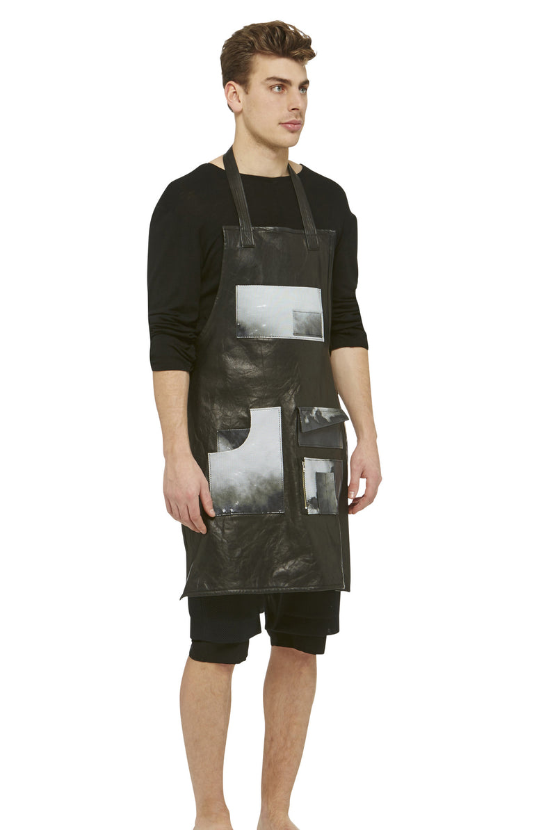 Black Lambskin Leather Apron