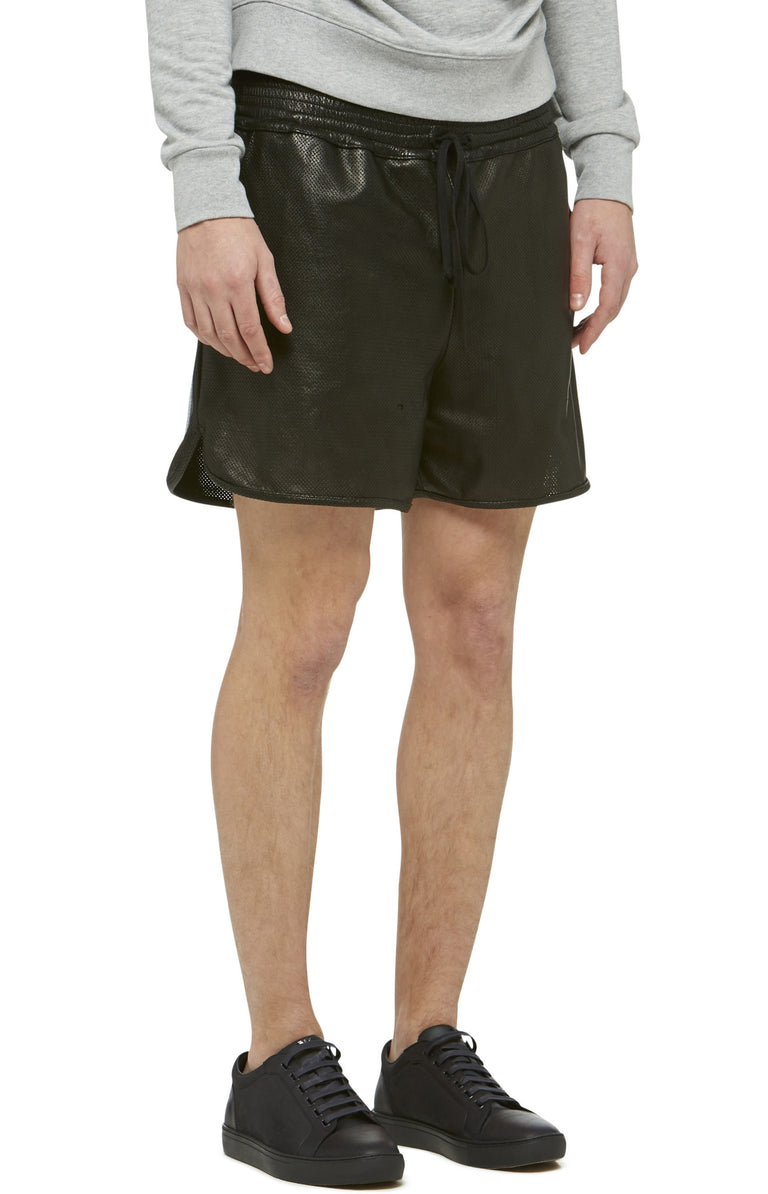 Black Leather Track Shorts