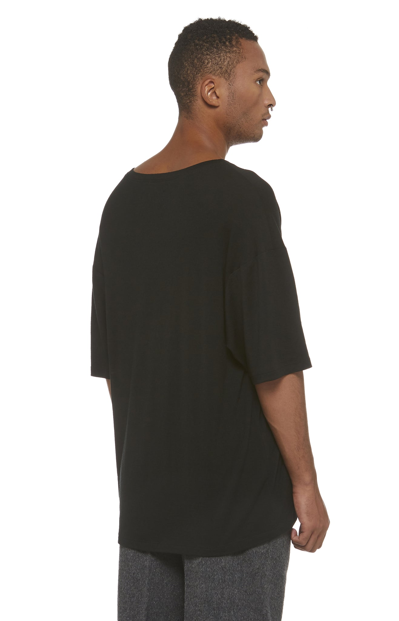 Black Merino Drop Shoulder T-Shirt