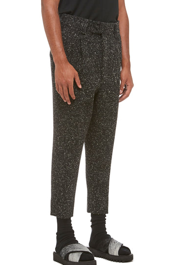 Grey Melange Drop Crotch Trouser