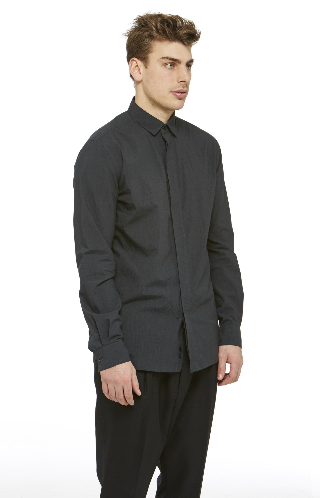 Black Cotton Tempiboshi Shirt