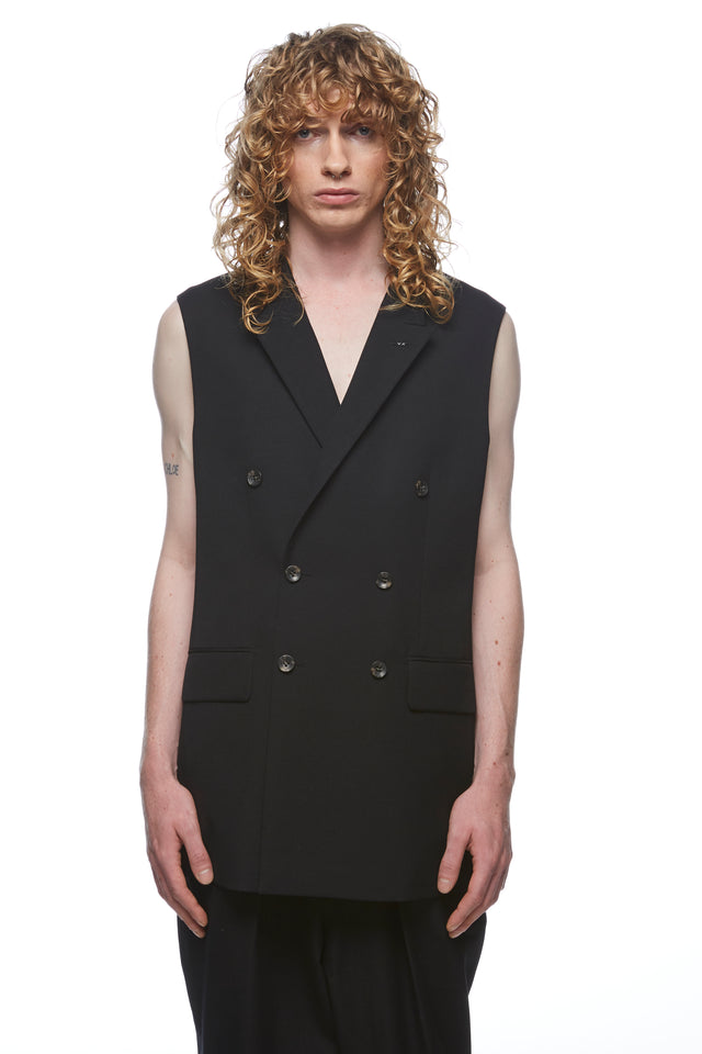 Black Double Breasted Sleeveless Blazer