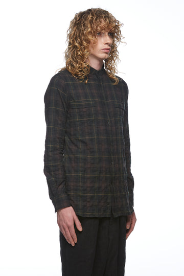 Green Plaid Collarless Shirt