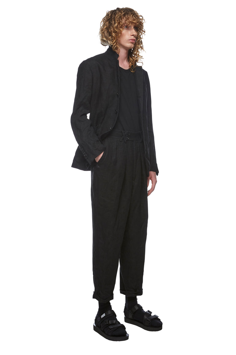 Black Linen Drop Crotch Pant