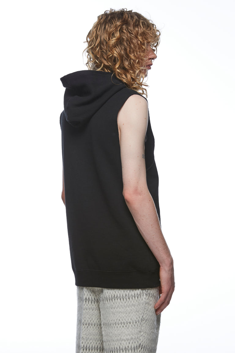 Black Sleeveless Hooded Sweatshirt