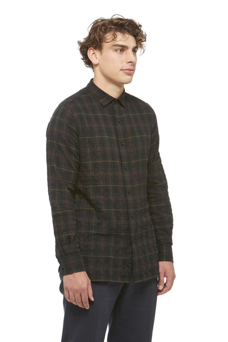 Green Cotton Plaid Shirt