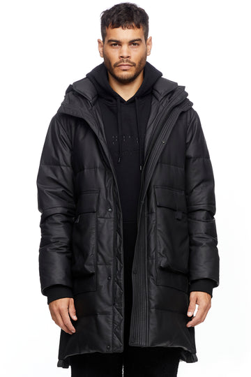 Black Leather Puffer Jacket