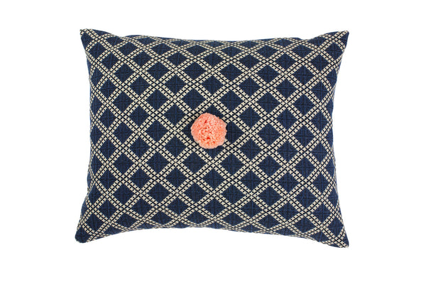 Celia Indigo Diamond Cushion - Ondine Ash