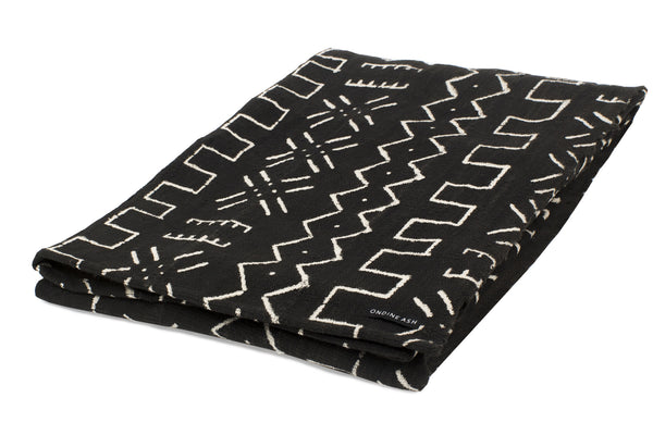 Mud Cloth Black Blanket